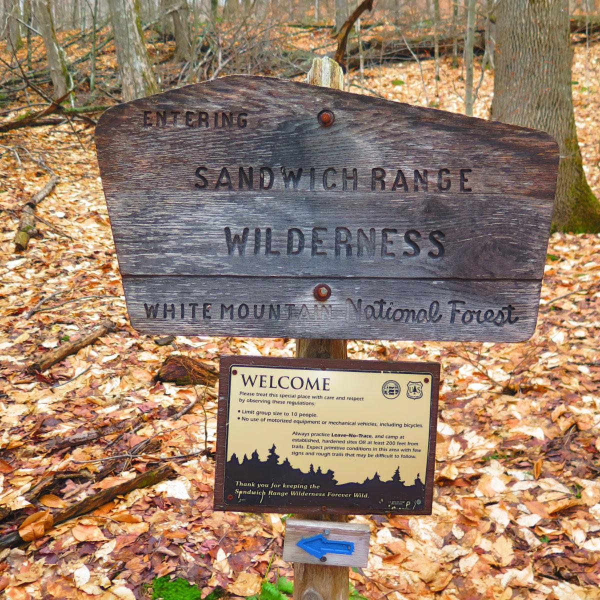 Whiteface-Passaconaway-Sandwich-Wilderness-Sign-20190424