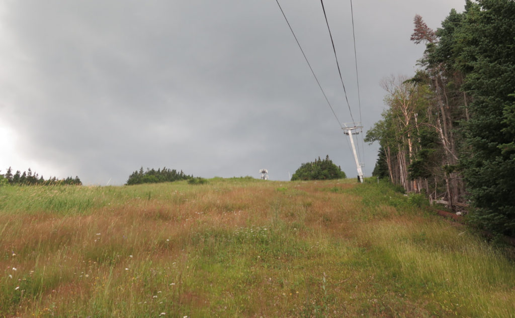Rain clouds over Waterville Valley ski area.